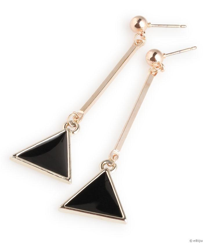 544d35b37 Čierno-zlaté, dlhé náušnice v tvare trojuholníka (kód: 8683)